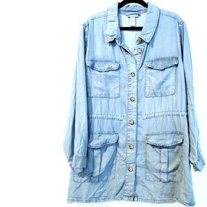 2X Catherines Blue Chambray Utility Shacket Shirt Jacket